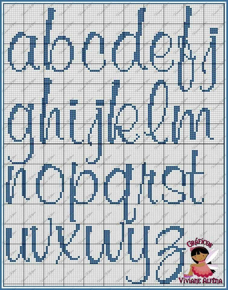 Script style alphabet lower case ponto cruz ponto - Grille point de croix lettre ...