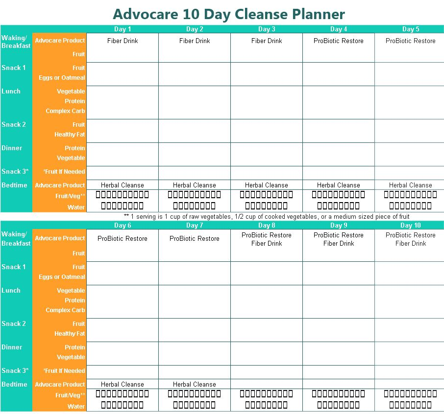 image regarding 24 Day Challenge Printable Guide referred to as Advocare 10 Working day Clean up Printable Planner