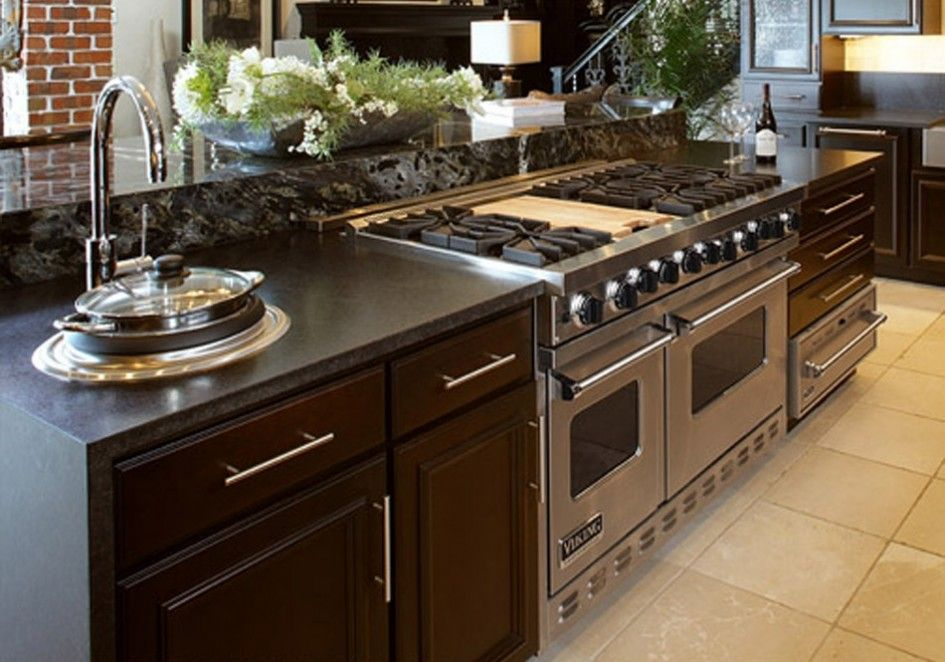 Kitchen Island With Slide In Stove viking range in an island - google search | | kitchen