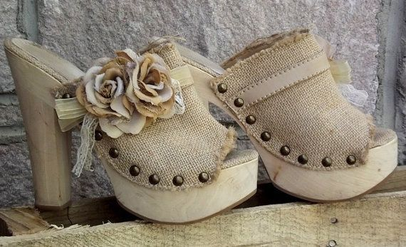 shabby chic ideas with burlap | OOAK Shabby Chic Burlap High Heels with flowers by JuneBugCottage