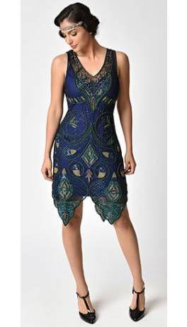 f80149b19cb 1920s Style Navy Blue   Green Beaded Emma Flapper Dress