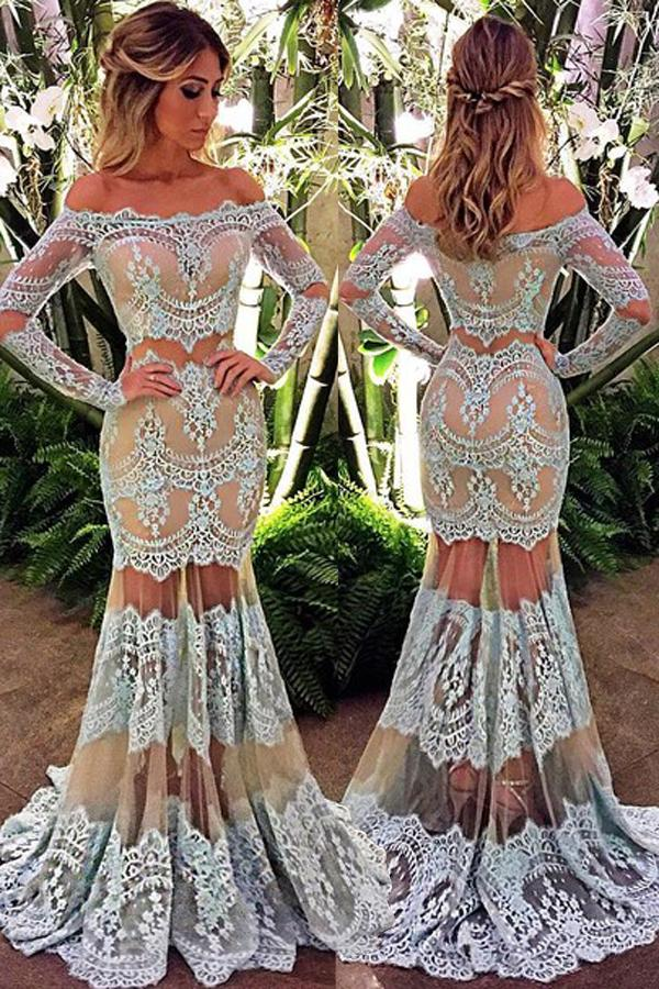 accf6823f85 New Arrival Prom Dress,lace prom dresses,Elegant Off the Shoulder Long  Sleeves Floor-Length Turquoise Lace Prom Dress PD20191684