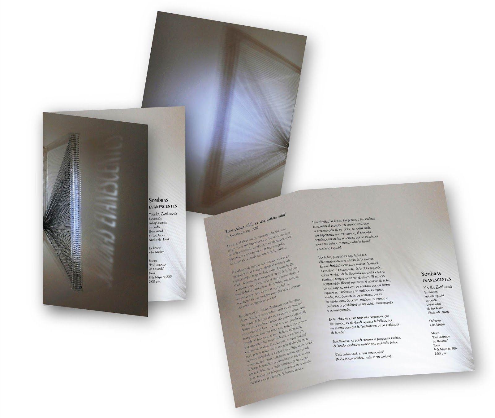 Catálogo de la exposición Sombras evanescentes  diseñado por Gracia Chacón Ocaris