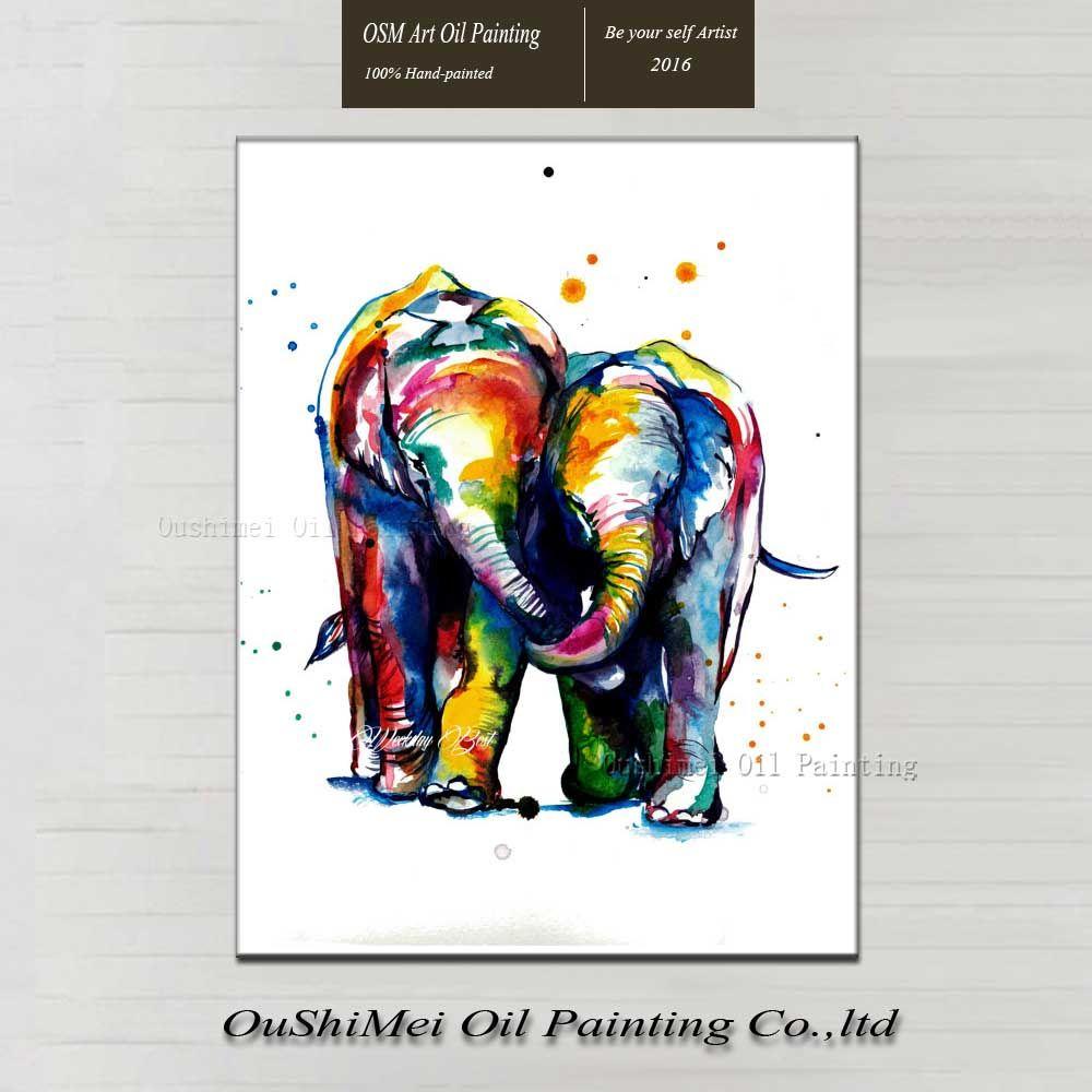 Pintura al óleo abstracta elefante colorido agradable decoración ...