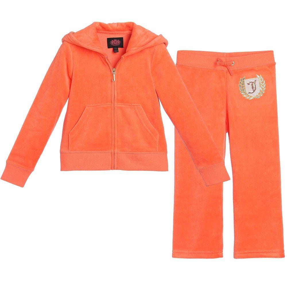 b3e7dd1e1d7b Juicy Couture Girls Orange Velour  Scotty Shield  Tracksuit at Childrensalon .com