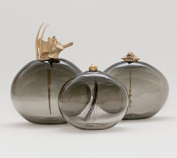 Curiosity Vessels in smoke glass by Lindsey Adelman: