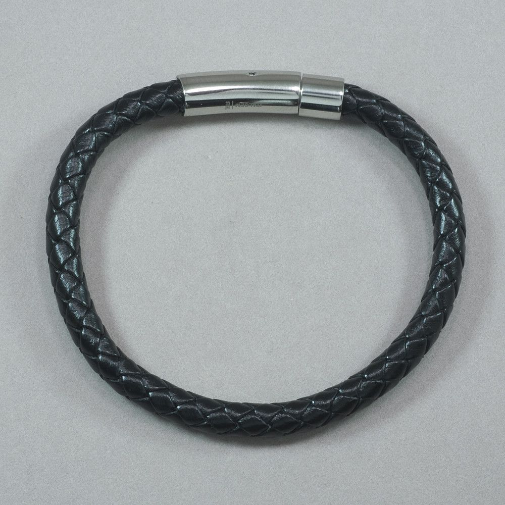 Italgem Black Leather with Stainless Steel Bracelet