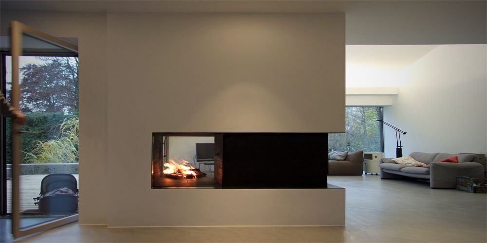 offene feuerstelle aus rohstahl fireplace in the living. Black Bedroom Furniture Sets. Home Design Ideas