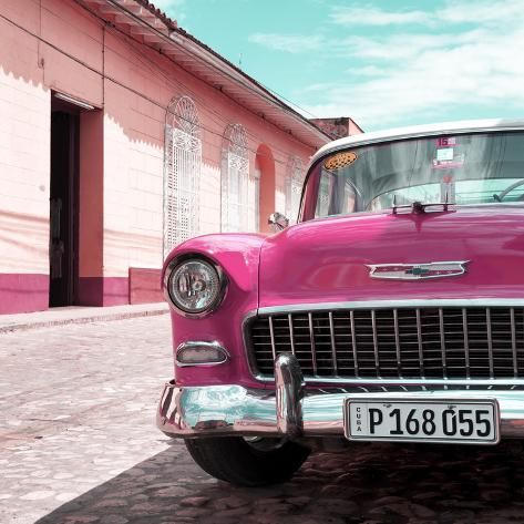 Cuba Fuerte Collection SQ – Pink Classic Car 1955 Chevy Photographic Print by Philippe Hugonnard | Art.com