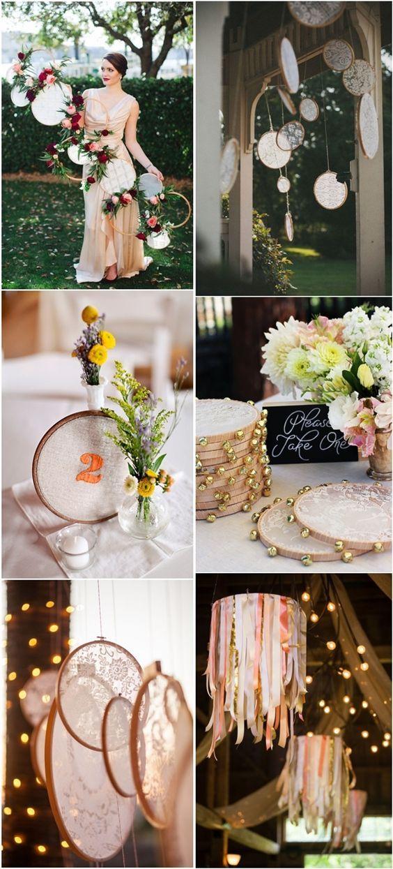 25 Unique Embroidery Hoops Boho Wedding Decor Ideas Cute Wedding