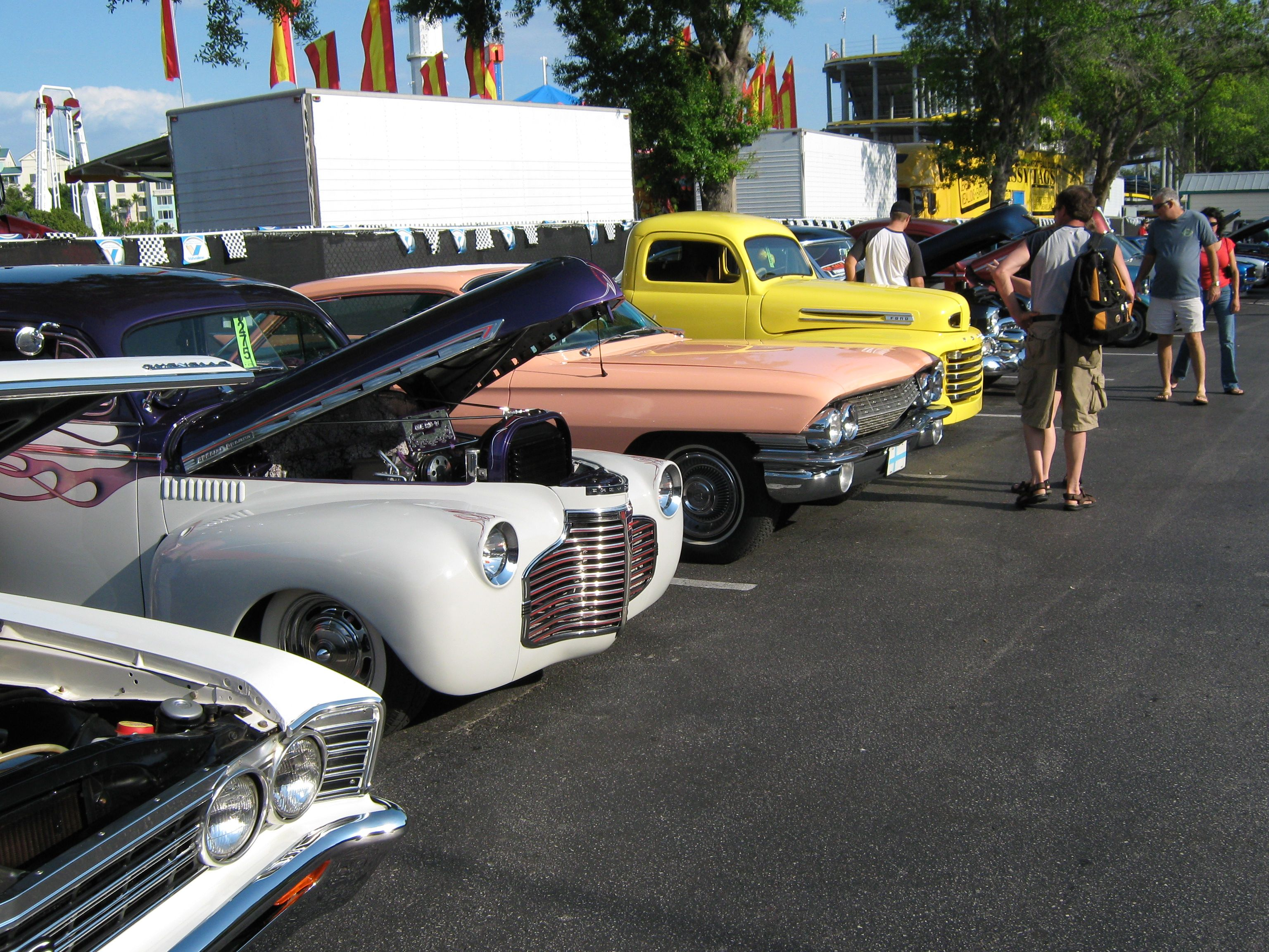 A row of cars at the old town saturday night cruise car show in kissimmee