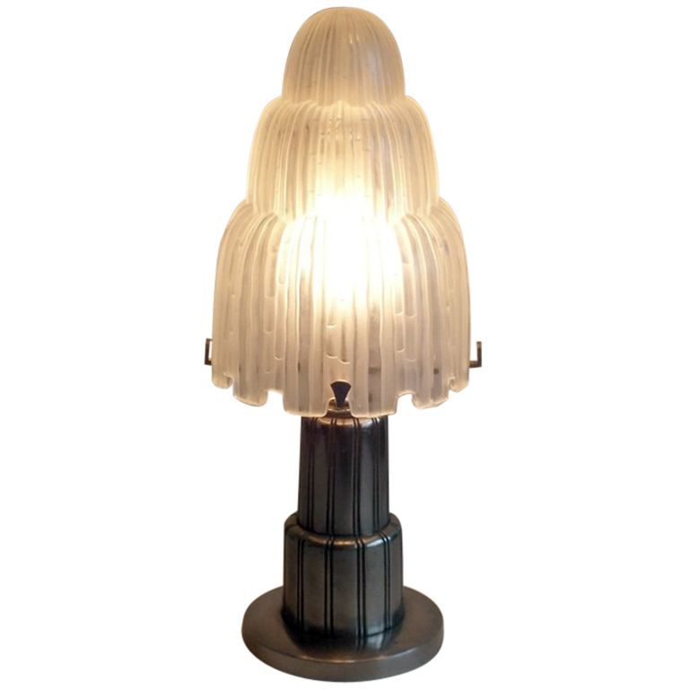 Exceptional French Art Deco signed Sabino lamp