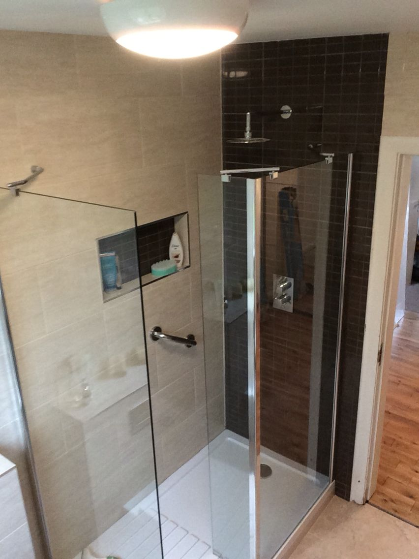 Walk in shower enclosure built in shelf with chrome mixer valve and ...