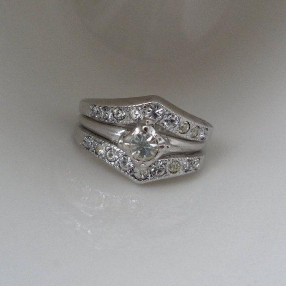Trademark Antiques 18kt Hge Double Wedding Band Fake Engagement Ring Wedding Ring Enhancer Large Engagement Ring Esposito Fake Diamond Ring Fake Engagement Rings Large Engagement Rings Double Wedding Bands