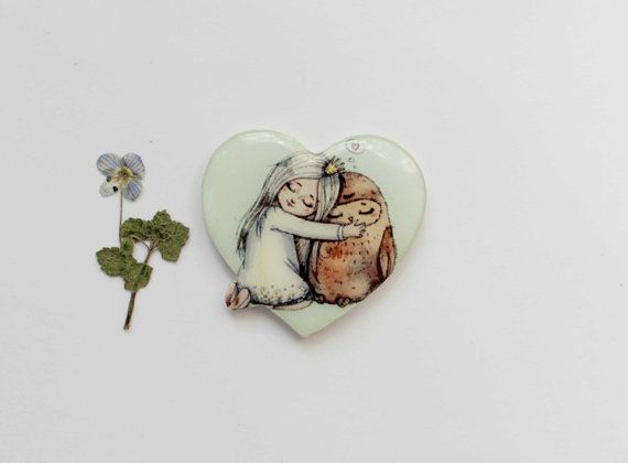 Free shipping heart brooch pin clay heart Girly by Dinabijushop, $19.00