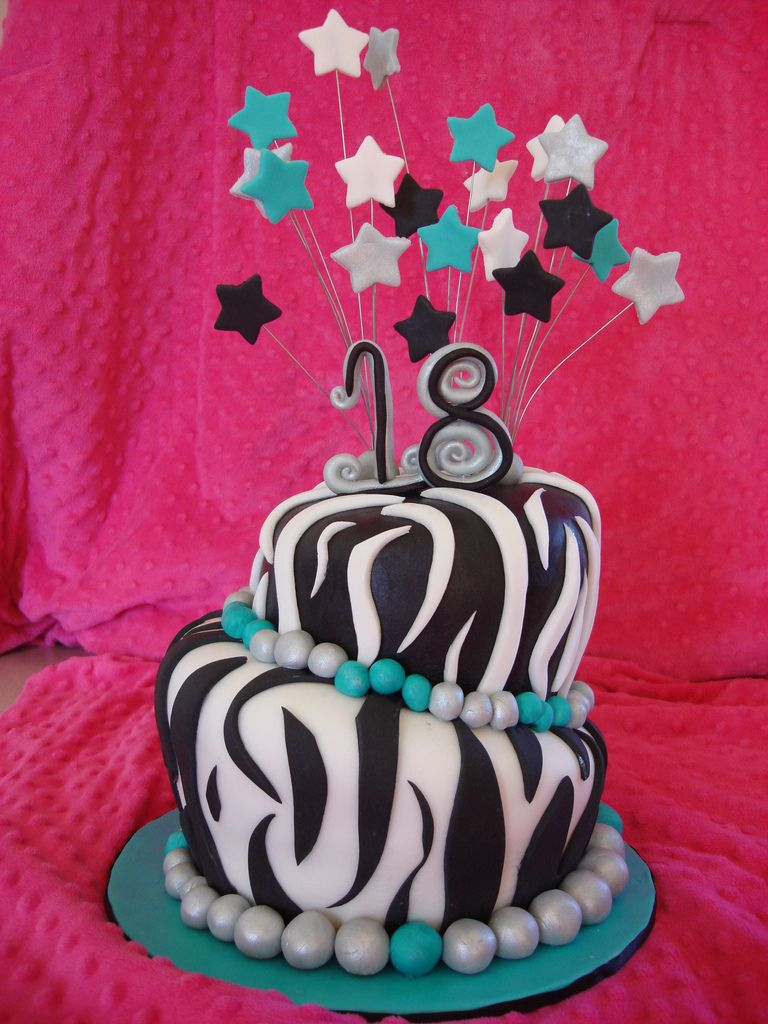 Teen Girl Cakes ZEBRA PRINT 18TH BIRTHDAY CAKE a photo on