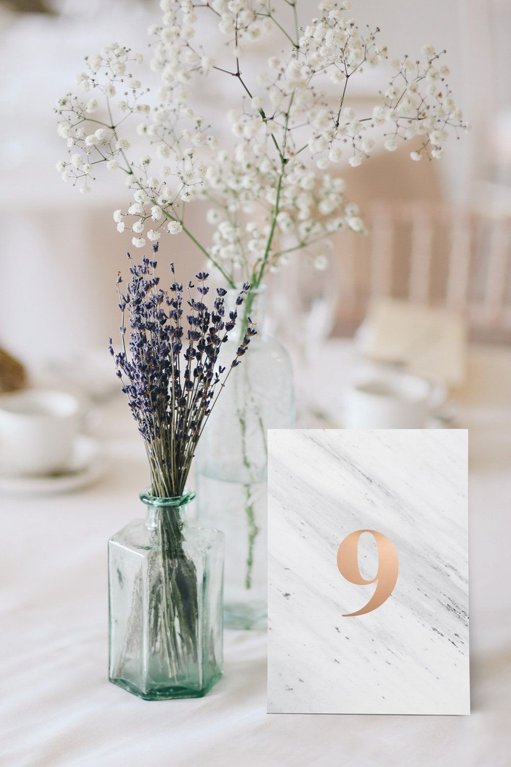 table numbers printable in rose gold and marble for elegant weddings