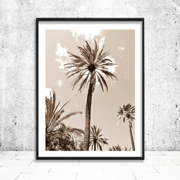 Palm Print, Sepia Palm Photography, Vintage Tropical Wall Decor, Botanical  Wall Art, Palm Tree, Palm Printable Wall Decor, Instant Download