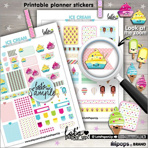 Ice Cream Stickers, Printable Planner Stickers, Sweet Stickers, Erin Condren, Kawaii Stickers, Planner Accessories, Popsicle, Food, Dessert
