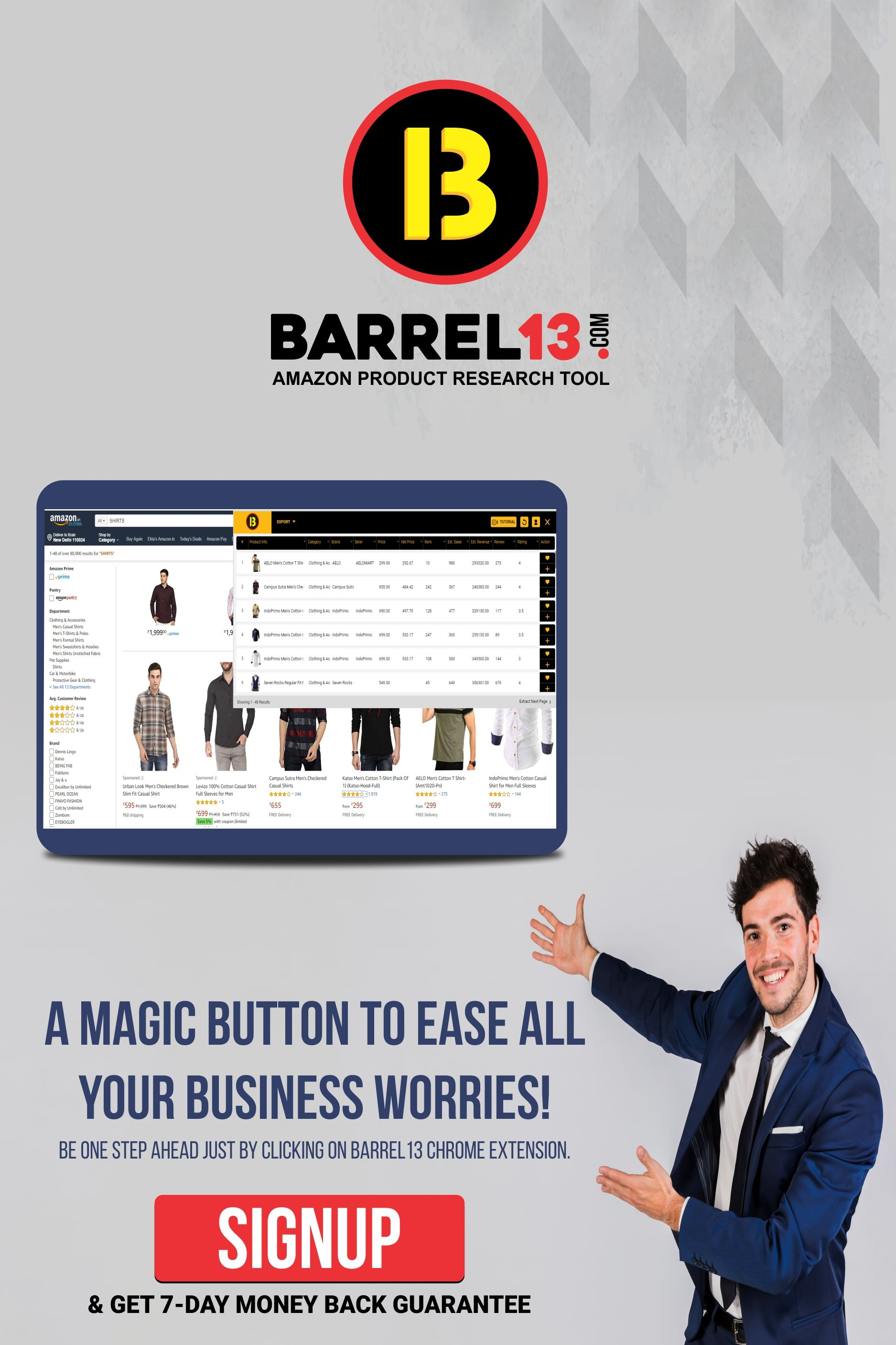 Just click the Barrel13 Chrome Extension button on your