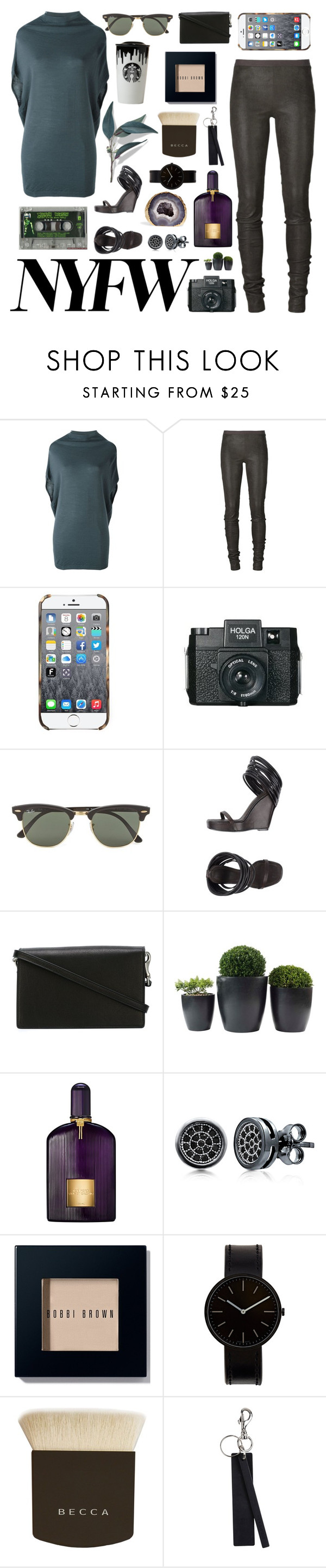 """""""Untitled #877"""" by liska1986 ❤ liked on Polyvore featuring Rick Owens, Holga, Ray-Ban, Tom Ford, BERRICLE, Bobbi Brown Cosmetics, Uniform Wares and Becca"""