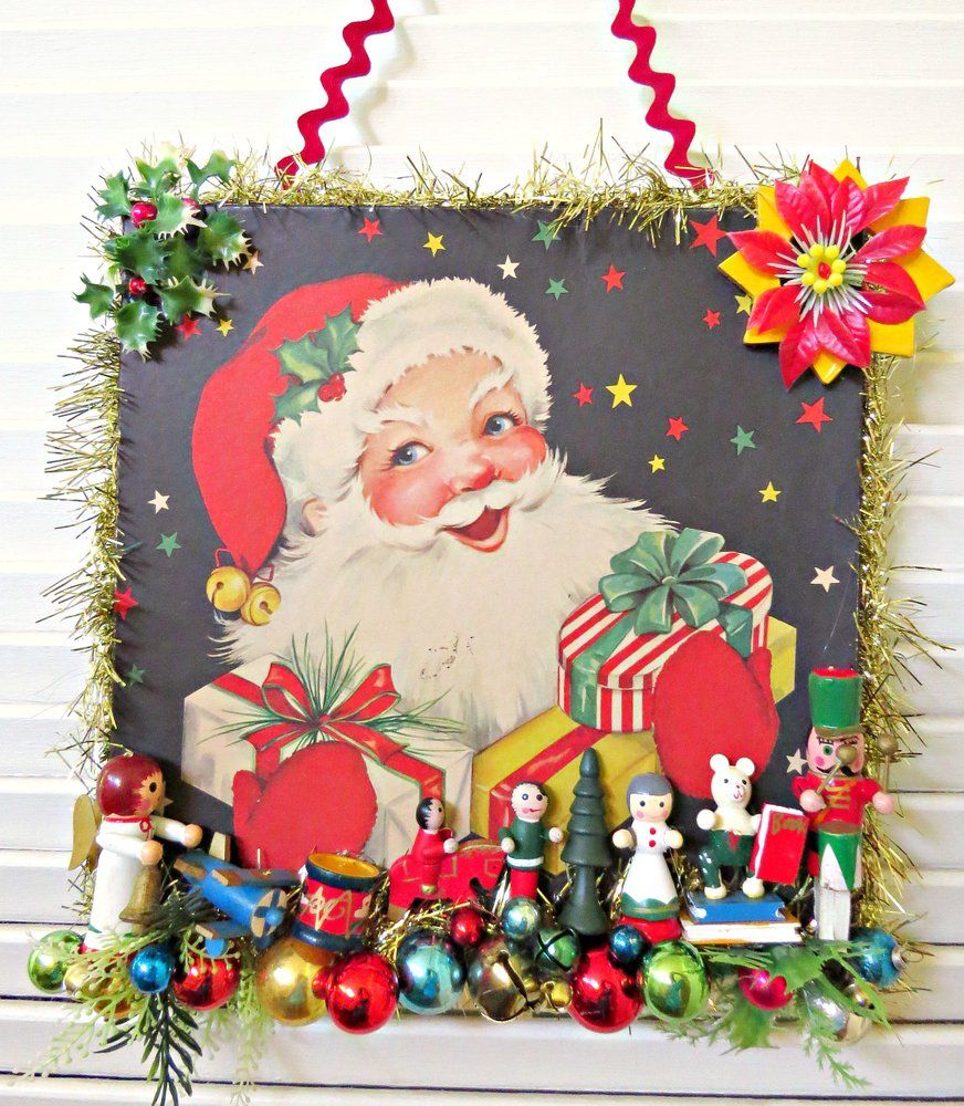 Gift Box Christmas Decorations Vintage Jolly Santa Gift Box Christmas Decoration  Santa Gifts