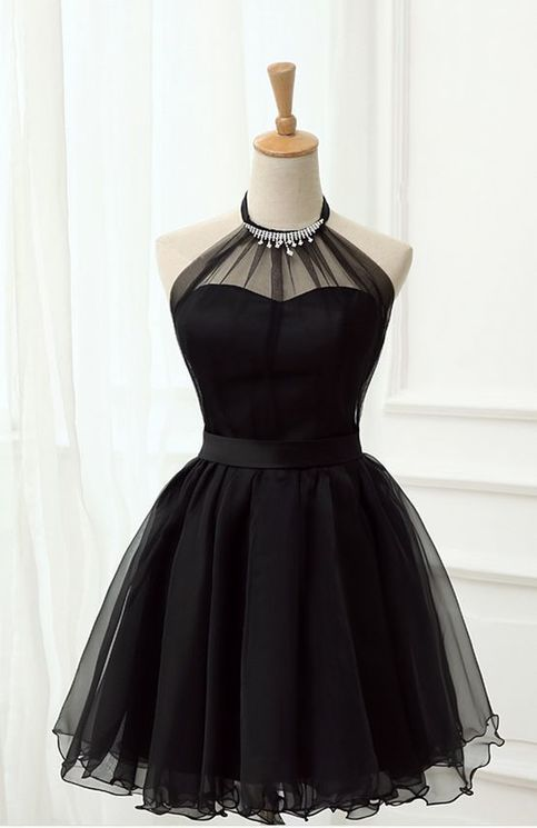 Black party dress halter neck evening dress tulle homecoming short dress