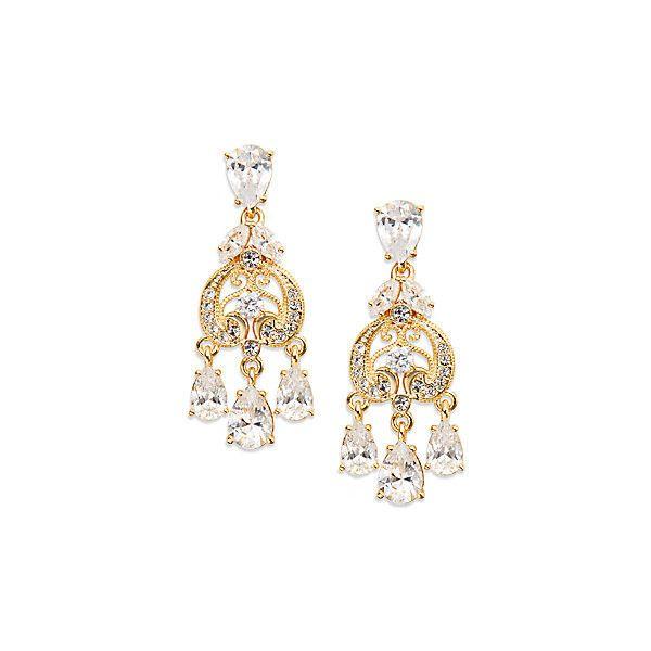 Adriana Orsini Filigree Crystal Teardrop Chandelier Earrings Gold 55 Liked On Polyvore