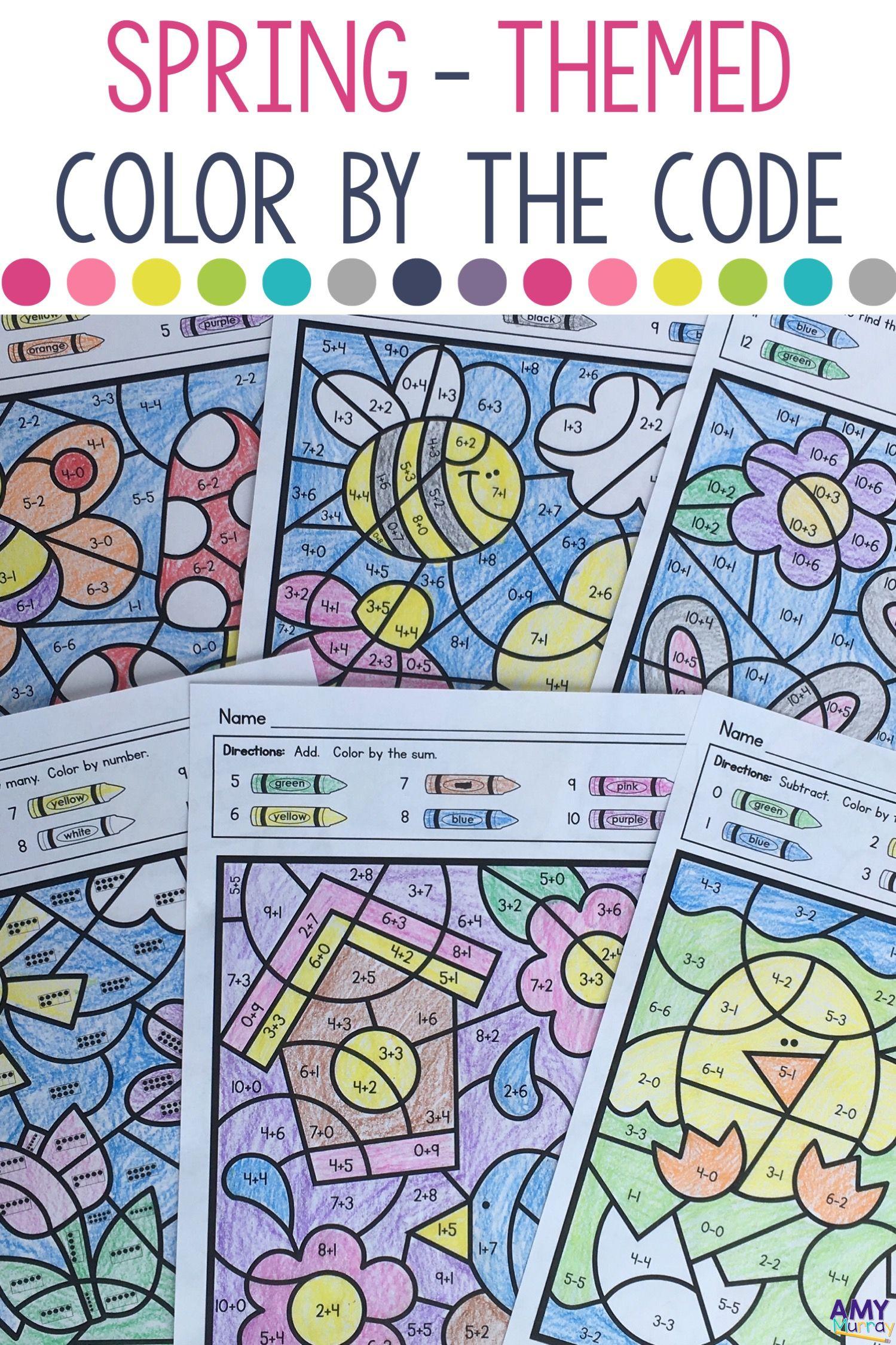 Spring Themed Color By Number Kindergarten Math Worksheets