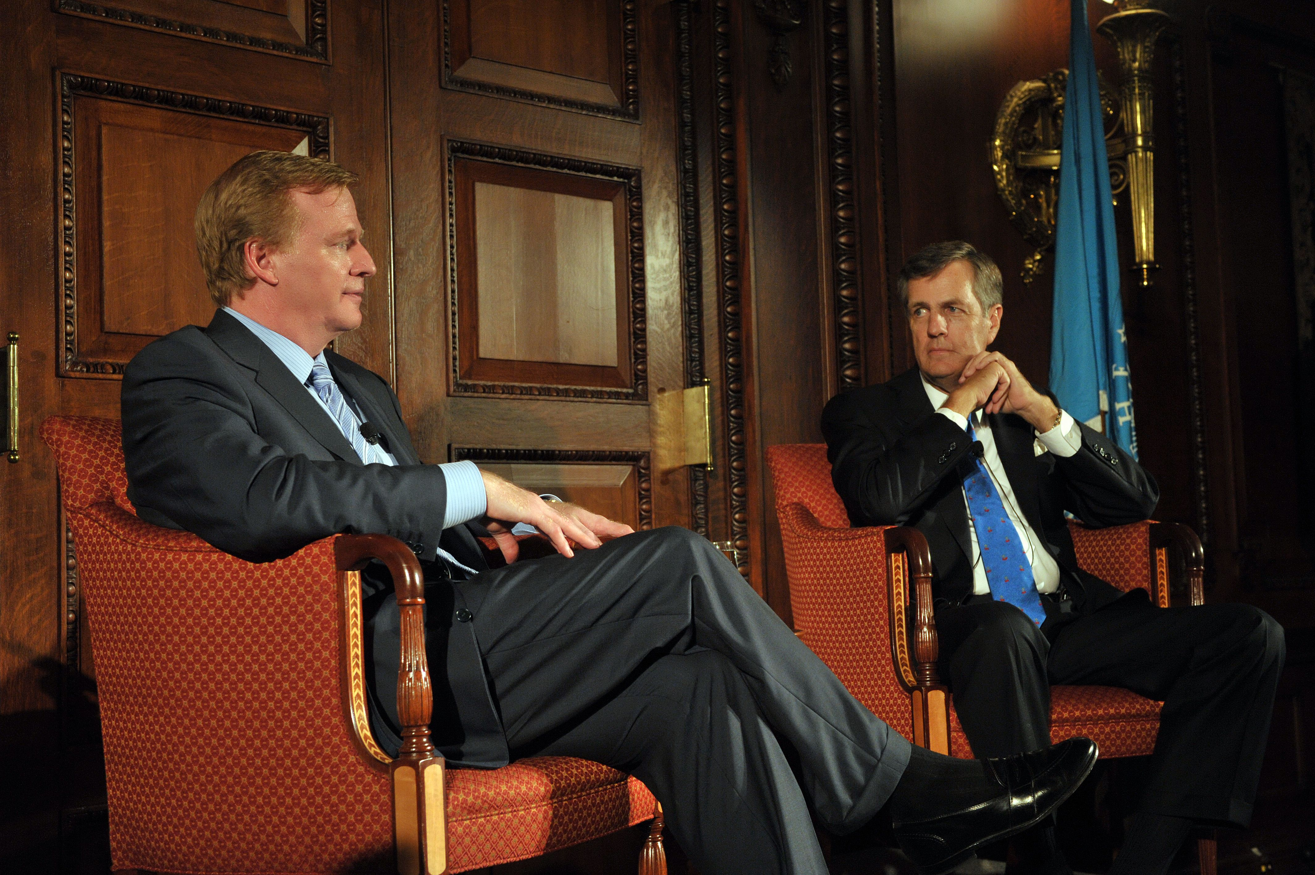 At left, NFL Commissioner Roger Goodell with Fox News contributor Brit Hume at the launch of the Kemp Legacy Project.