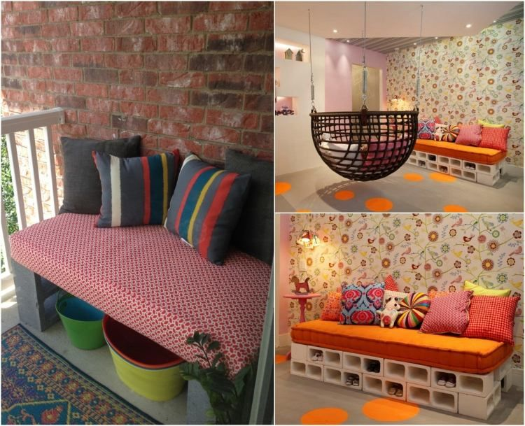 parpaing creux comment en faire des meubles fonctionnels pinterest banc de balcon. Black Bedroom Furniture Sets. Home Design Ideas