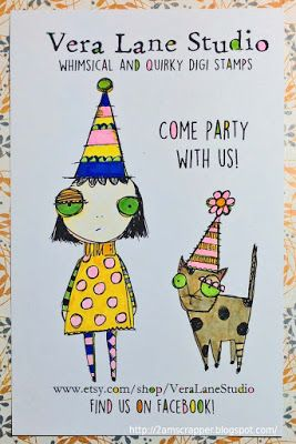 celebrating Vera Lane Studio by coloring with Copics for Janet's postcard contest.