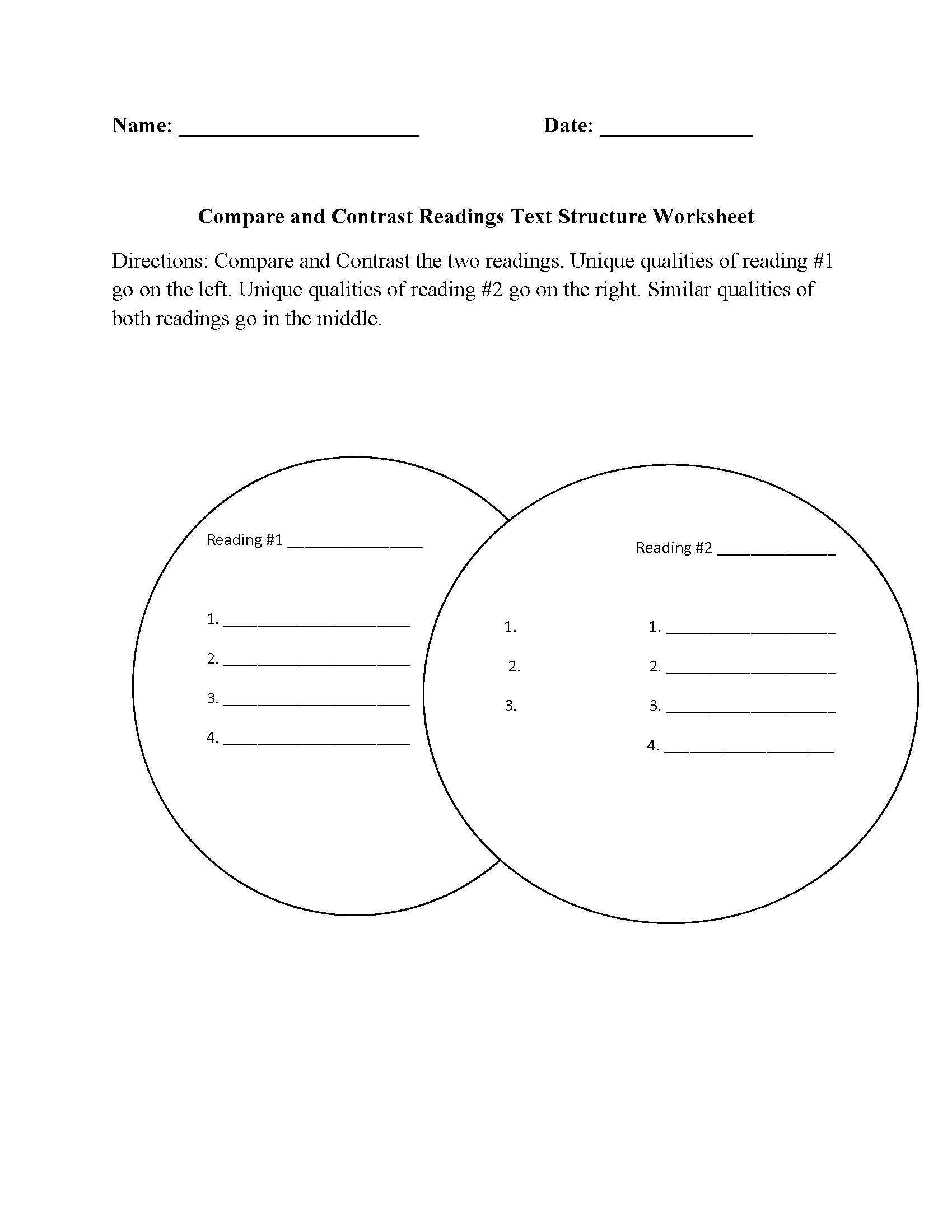 Compare And Contrast Readings Text Structure Worksheets