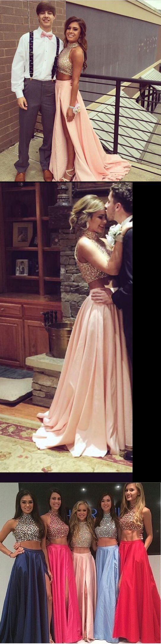 High neck two piece pink taffeta long prom dresses front split