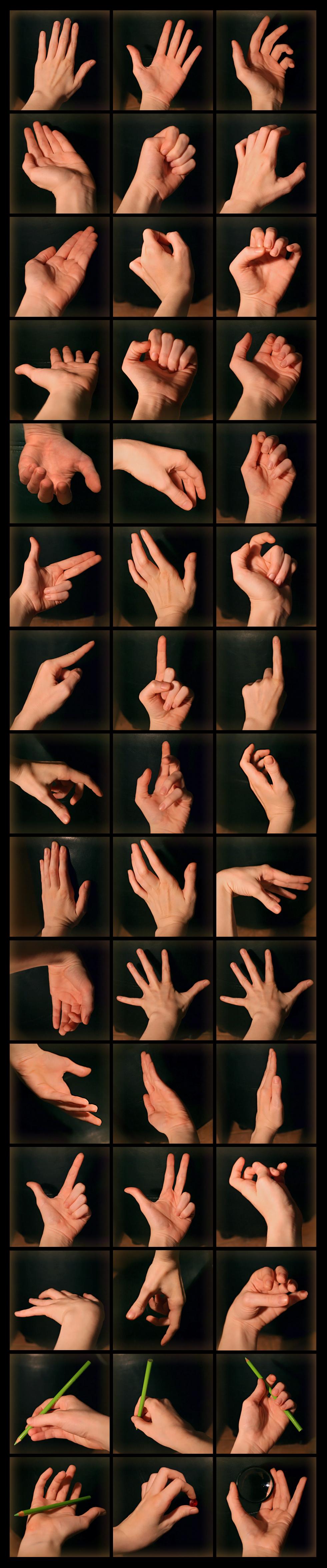 Referencias para mãos... Eu fico louca kkkkkk  http://pikishi.deviantart.com/art/Hands-Reference-261642003  Hand Reference.
