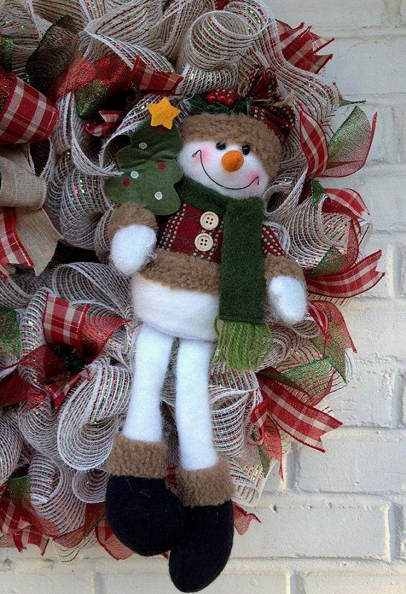 Rustic Cream Winter Snowman Wreath by dottiedot05 on Etsy
