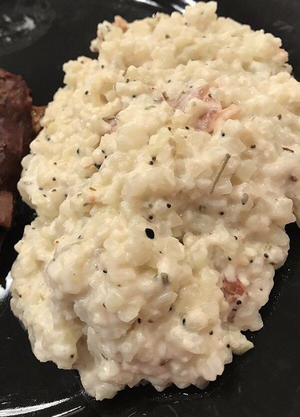 This creamy Cauliflower Risotto is perfect as a side dish. The combination of the cheeses, bacon and seasonings really compliment each other. Ingredients: 1 1/2 cups frozen riced cauliflower 1/2 tsp of everything but the bagel seasoning ( I use Dak's everything but dah salt) Dash of dry rosemary, dash of garlic powder 1 garlic ... Read More about Cauliflower Risotto #ricedcauliflower
