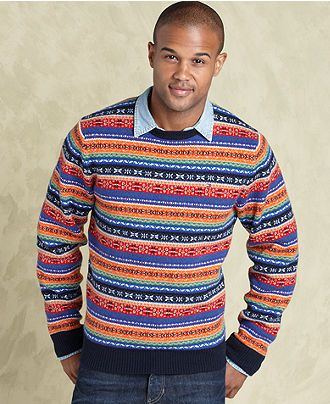 Tommy Hilfiger Sweater, Multi Fair Isle Crew Neck Sweater - Mens ...