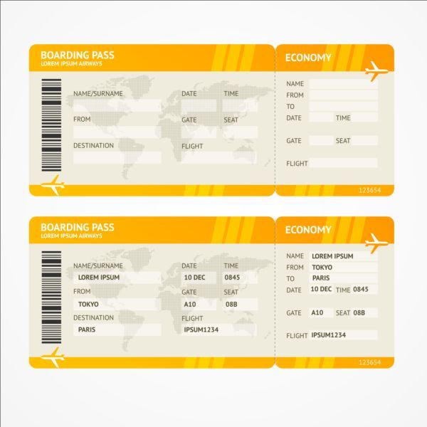 Airline tickets template design vector 03 Ticket template and Template - airplane ticket template
