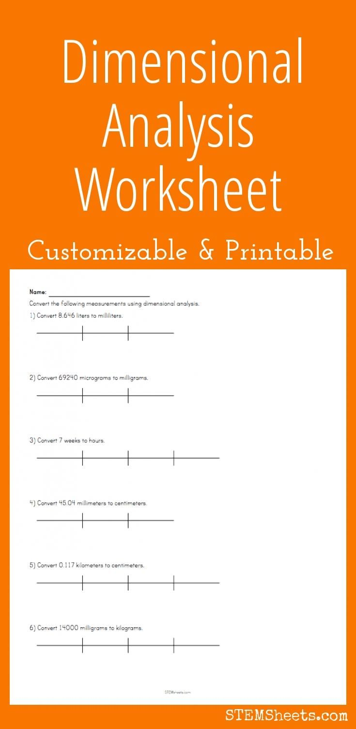 Dimensional Analysis Worksheet Customize And Print Dimensional