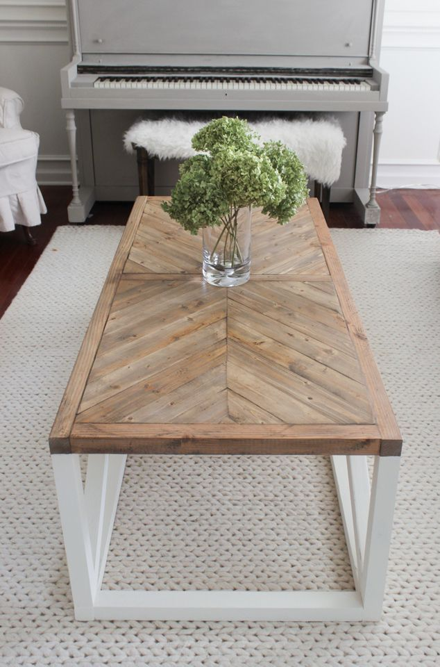 Photo of Modern Farmhouse Herringbone Coffee Table – Shades of Blue Interiors