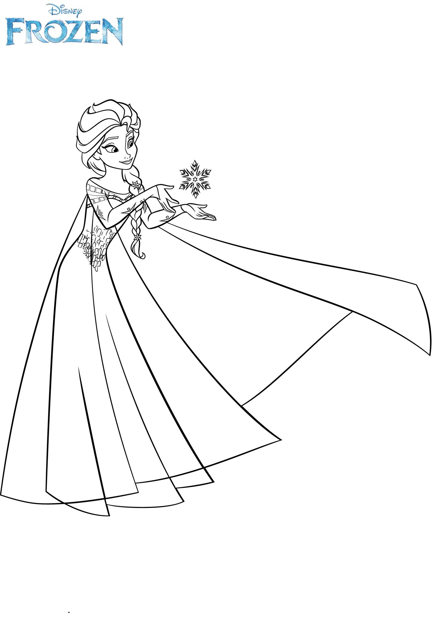 раскраска холодное сердце королева эльза и снежинка Frozen