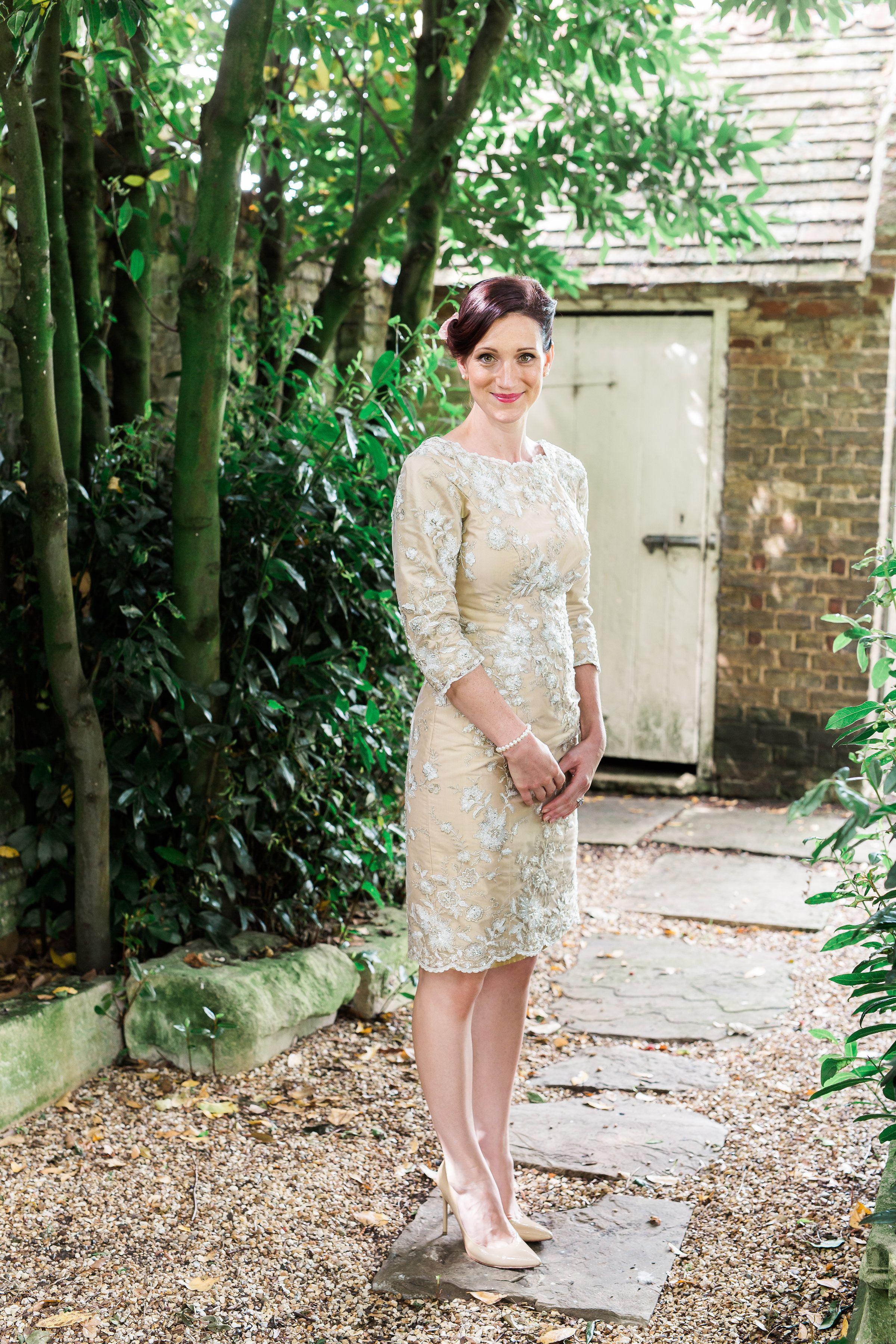 Bespoke Occasion Wear By Rachel Lamb Design Lace Over Silk Dupion Knee Length Dress Photo By Sarahbrookesphotog Designer Wedding Dresses