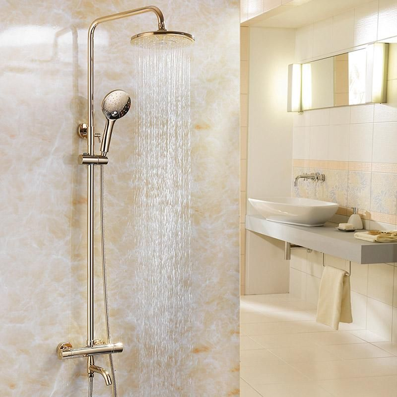 2019 Gold Color Bathroom Thermostatic Control Shower Faucet Set Wall Mounted Round Design Rain Shower Head Brass Material From Qqq541278 261 31 Dhgate Com Shower Faucet Sets Copper Bathroom Fixtures Bathroom Colors