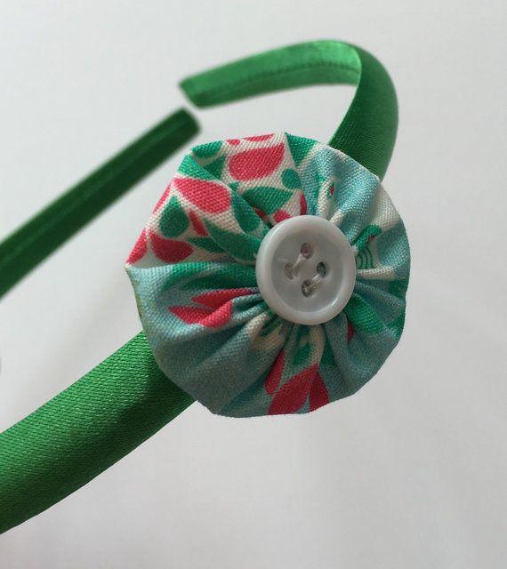 Girls green flower headband flower girl headband by Minimelton