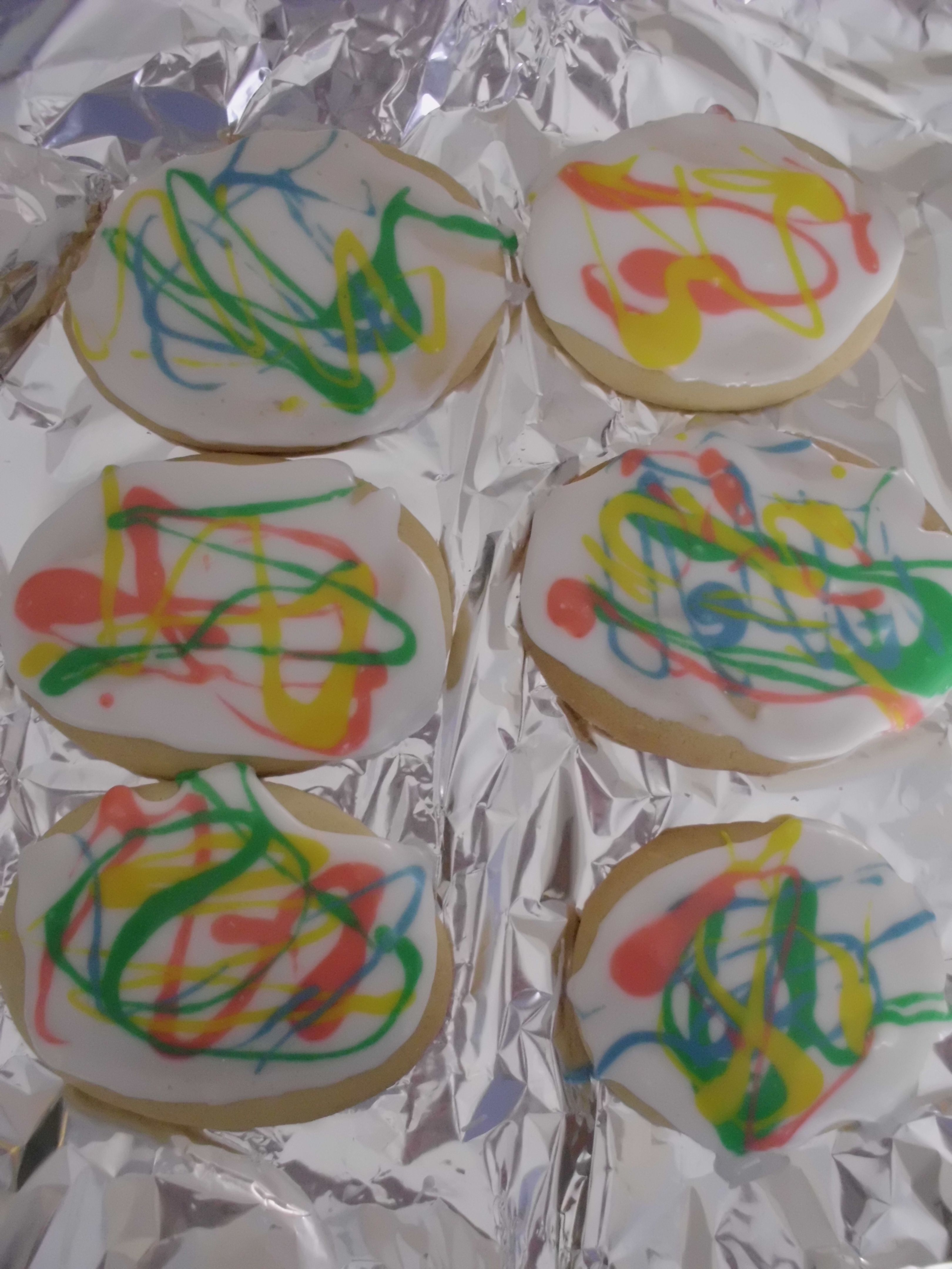 Easter cookies 'painted' with frosting, Jackson Pollock style