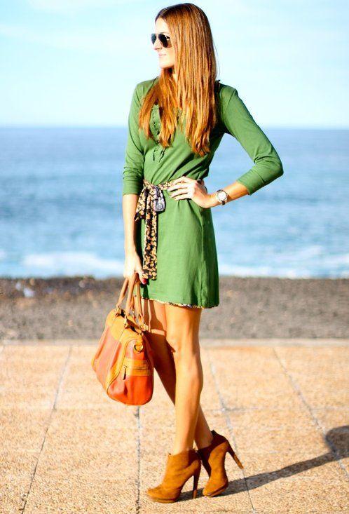 Vestido verde natura