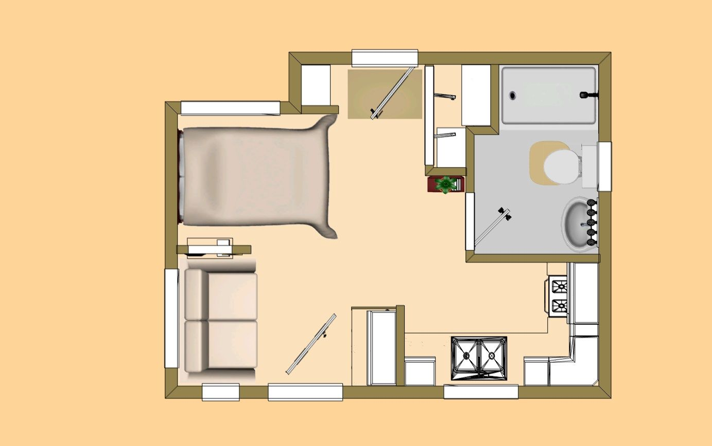 Floor Plan View Of Cozy S 242 Sq Ft Buckaroo Tiny House Plan Tiny Guest House Small Dream Homes House Plans