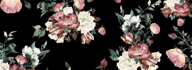 Vintage Pink Black Floral Wallpaper Mural Muralswallpaper Vintage Flowers Wallpaper Black Floral Wallpaper Vintage Floral Wallpapers Black and cream floral wallpaper