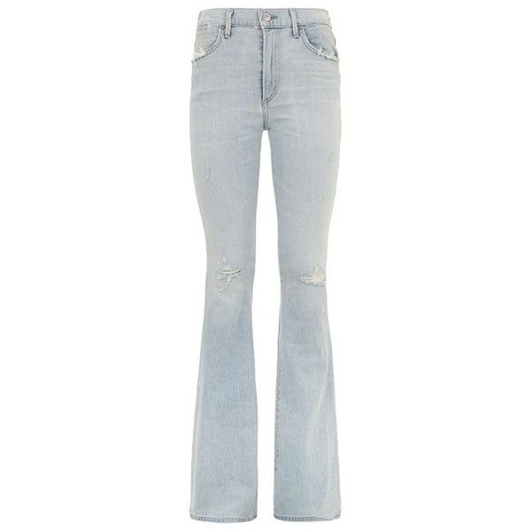 Citizens of Humanity Fleetwood High Rise Flared Jeans (6.300 ARS) ❤ liked on Polyvore featuring jeans, distressed jeans, distressed denim jeans, high waisted jeans, high-rise flared jeans and ripped jeans